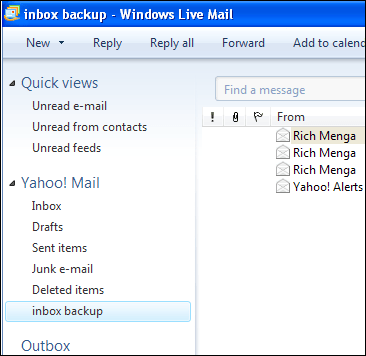 "Go to Yahoo! Mail and do the exact same thing. Create a folder called ""inbox"