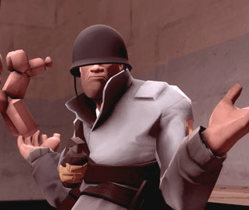 Shrugging soldier, Team Fortress 2, Free To Play Games, The Problem with Free To Play Games, BLU Soldier