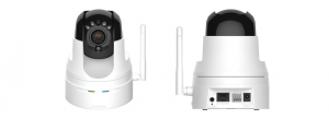 Front and back views of D-Link Wireless HD Pan & Tilt Day/Night Network Surveillance Camera (Image Credit:  D-Link)