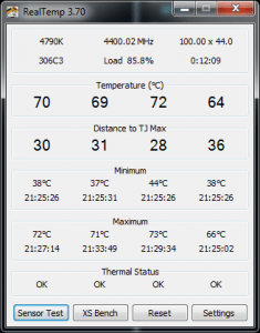 Screenshot of RealTemp Monitoring Screen