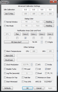 Screenshot of RealTemp Settings