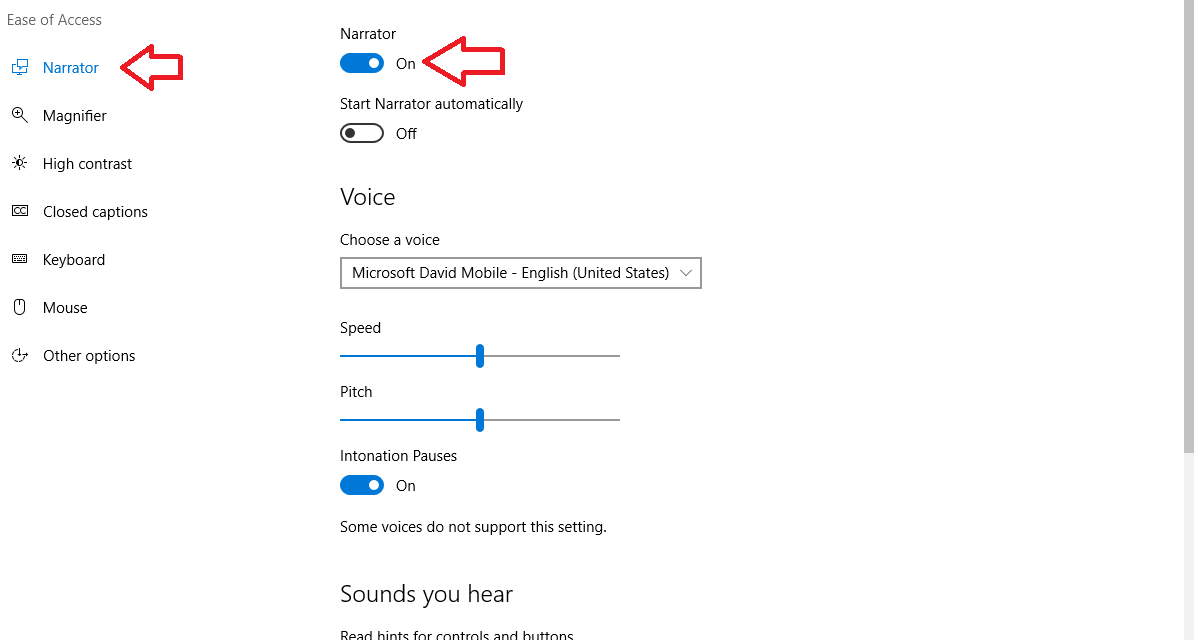 How to use Windows 10's Narrator feature
