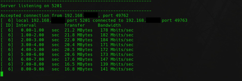 Iperf3 Server Connected